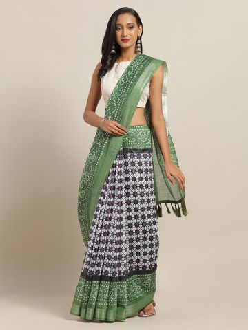Vastranand | VASTRANAND Navy Blue & Green Cotton Blend Printed Bandhani Saree