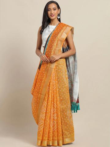 Vastranand | VASTRANAND Orange & Green Cotton Blend Printed Bandhani Saree