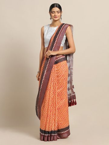 Vastranand | VASTRANAND Orange & Brown Cotton Blend Printed Bandhani Saree