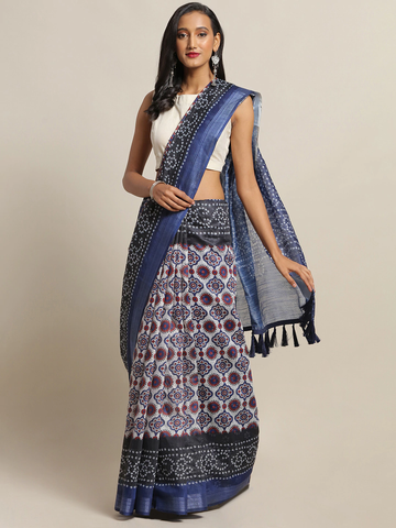 Vastranand | VASTRANAND White & Blue Cotton Blend Printed Bandhani Saree
