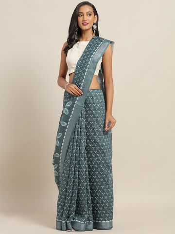 Vastranand | VASTRANAND Grey & White Cotton Blend Printed Bandhani Saree