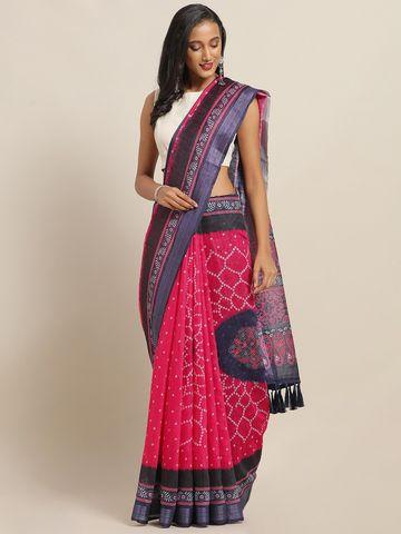 Vastranand | VASTRANAND Pink & Blue Cotton Blend Printed Bandhani Saree