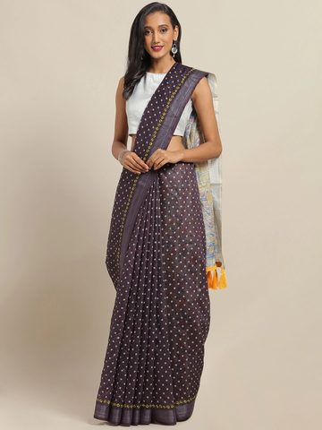 Vastranand | VASTRANAND Burgundy & White Cotton Blend Printed Bandhani Saree