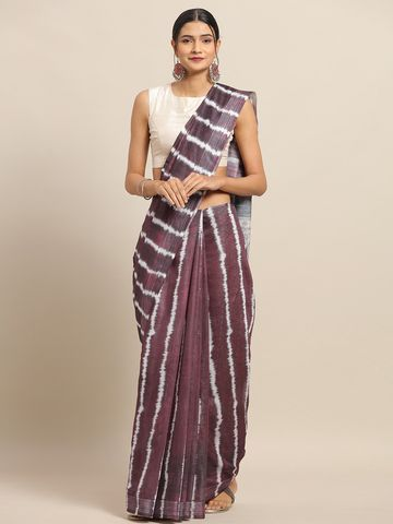 Vastranand | VASTRANAND Maroon & Cream-Coloured Cotton Blend Printed Bandhani Saree