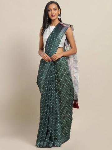 Vastranand | VASTRANAND Green & White Cotton Blend Printed Bandhani Saree