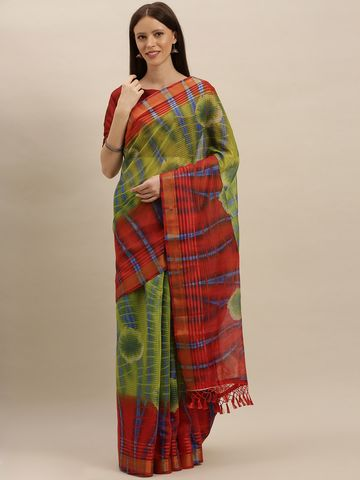 Vastranand | VASTRANAND  Green & Red Silk Blend Dyed Saree