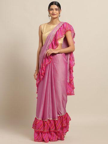 Vastranand   VASTRANAND Pink Chiffon Solid Ruffled Designer Bandhej Saree