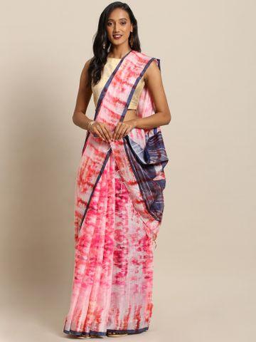 Vastranand | VASTRANAND  Pink & White Linen Blend Dyed Ikat Saree