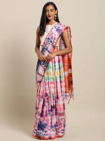 Vastranand | VASTRANAND  Multicoloured Linen Blend Dyed Ikat Saree