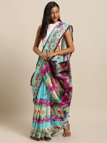 Vastranand | VASTRANAND  Turquoise Blue & Pink Linen Blend Dyed Ikat Saree