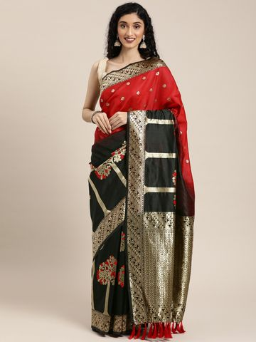 Vastranand | VASTRANAND  Black & Gold-Toned Silk Blend Woven Design Banarasi Saree