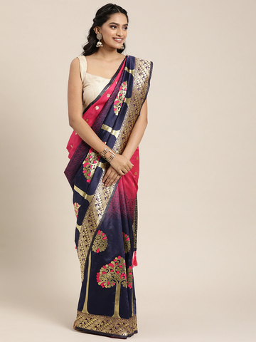 Vastranand | VASTRANAND  Navy Blue & Gold-Toned Silk Blend Woven Design Banarasi Designer Saree