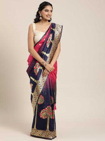 Vastranand | VASTRANAND  Navy Blue & Gold-Toned Silk Blend Woven Design Banarasi Designer Saree