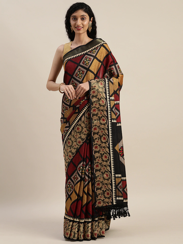 Vastranand | VASTRANAND  Black & Maroon Linen Blend Printed Patola Saree