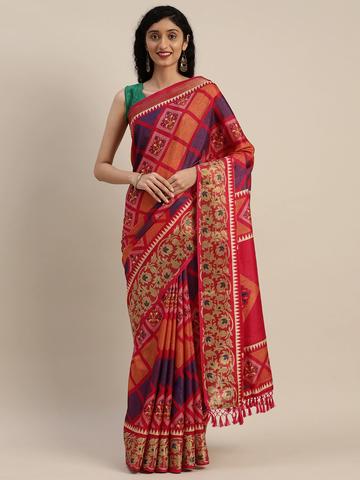 Vastranand | VASTRANAND  Pink & Purple Linen Blend Printed Patola Saree