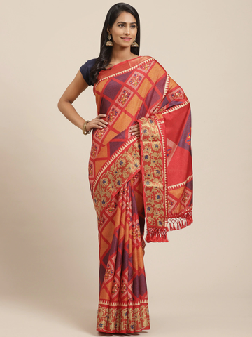 Vastranand | VASTRANAND Red & Orange Printed Patola Saree