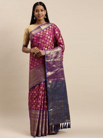 Vastranand   VASTRANAND Burgundy & Gold-Toned Silk Blend Woven Design Banarasi Saree
