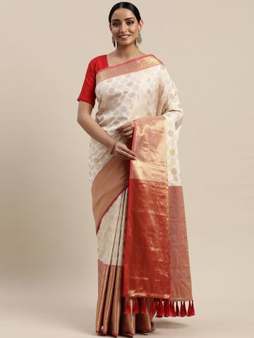Vastranand | VASTRANAND Off-White & Golden Silk Blend Woven Design Banarasi Saree