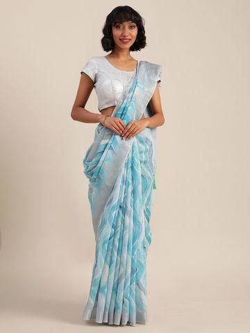 Vastranand | VASTRANAND  Blue & White Linen Blend Printed Banarasi Saree
