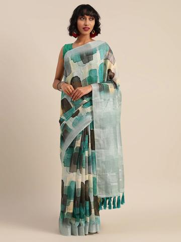 Vastranand | VASTRANAND  Cream-Coloured & Green Linen Blend Printed Banarasi Saree