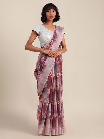 Vastranand | VASTRANAND  Maroon & Grey Linen Blend Printed Banarasi Saree