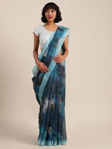 Vastranand | VASTRANAND  Teal Blue & Grey Linen Blend Printed Banarasi Saree