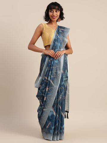 Vastranand | VASTRANAND  Blue & Beige Linen Blend Printed Banarasi Saree