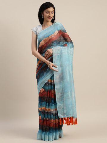 Vastranand | VASTRANAND  Blue & Red Linen Blend Printed Saree