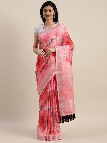 Vastranand | VASTRANAND  Pink Printed Linen Blend Saree
