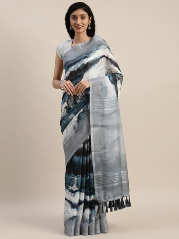 Vastranand | VASTRANAND  Grey & White Linen Blend Printed Saree