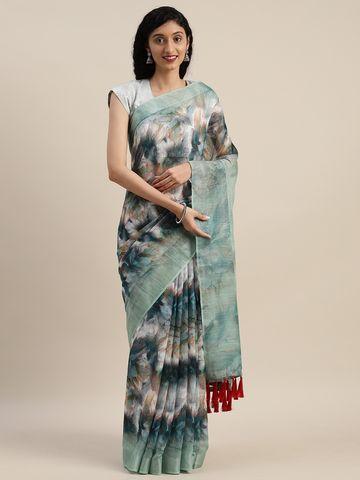 Vastranand | VASTRANAND  Green & White Linen Blend Printed Saree