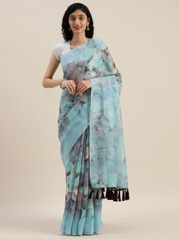 Vastranand | VASTRANAND  Blue & Black Linen Blend Printed Saree