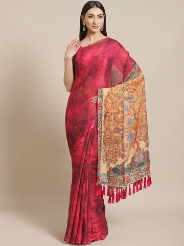 Vastranand | VASTRANAND  Magenta Dyed Saree