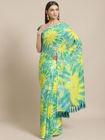 Vastranand | VASTRANAND  Green & Yellow Dyed Effect Saree