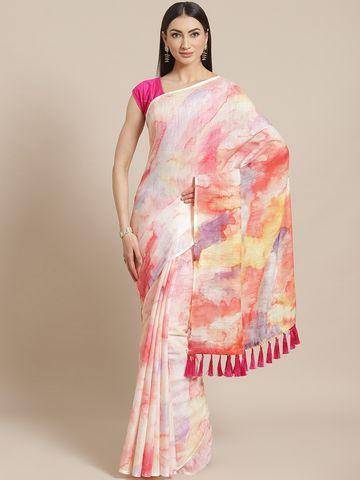 Vastranand | VASTRANAND  Off-White & Peach-Coloured Dyed Saree
