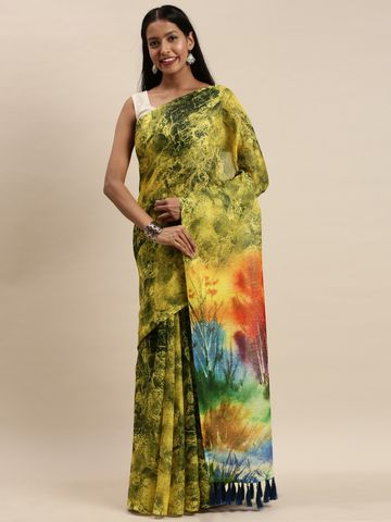 Vastranand | VASTRANAND Yellow & Blue Linen Blend Blend Printed Saree