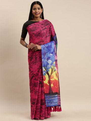 Vastranand | VASTRANAND Pink & Black Linen Blend Blend Printed Saree
