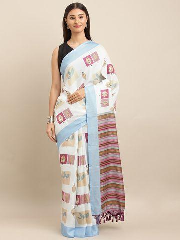 Vastranand | VASTRANAND  White & Blue Jute Printed Saree