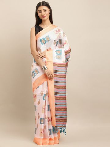 Vastranand | VASTRANAND  Off-White & Peach-Coloured Jute Printed Saree