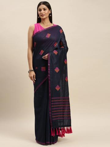 Vastranand | VASTRANAND Navy Blue & Pink Linen Blend Woven Design Banarasi Saree