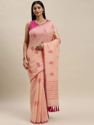 Vastranand | VASTRANAND Peach-Coloured Linen Blend Woven Design Banarasi Saree