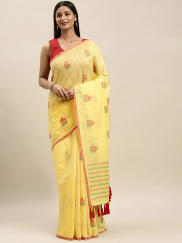 Vastranand | VASTRANAND Yellow & Red Linen Blend Woven Design Banarasi Saree