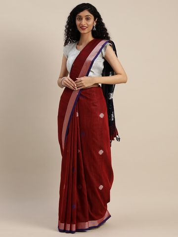 Vastranand | VASTRANAND  Red & Navy Blue Linen Blend Woven Design Saree