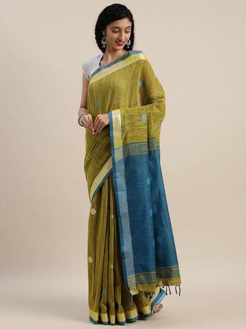 Vastranand | VASTRANAND  Olive Green & Teal Linen Blend Woven Design Banarasi Saree