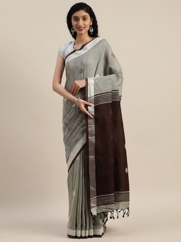 Vastranand | VASTRANAND  Grey & Black Linen Blend Woven Design Banarasi Saree