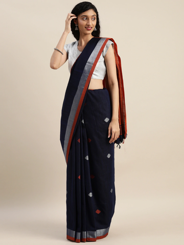 Vastranand | VASTRANAND  Navy Blue & Orange Linen Blend Woven Design Banarasi Saree