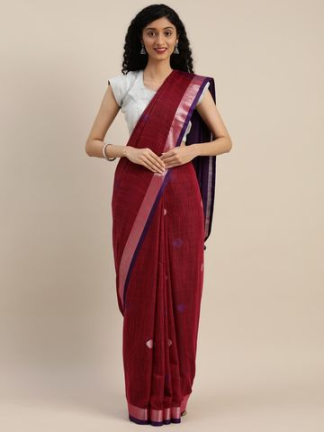 Vastranand | VASTRANAND  Maroon & Purple Linen Blend Woven Design Saree