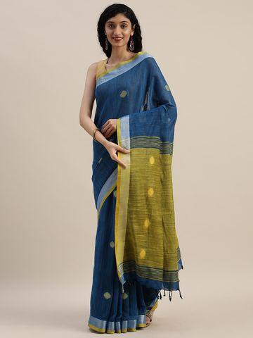 Vastranand | VASTRANAND  Teal & Mustard Linen Blend Woven Design Banarasi Saree