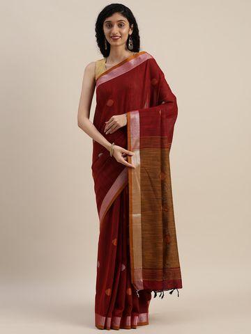 Vastranand | VASTRANAND  Maroon & Orange Linen Blend Woven Design Banarasi Saree