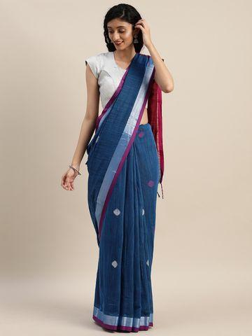 Vastranand | VASTRANAND  Blue & Maroon Linen Blend Woven Design Banarasi Saree